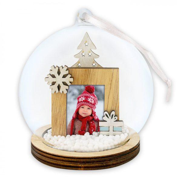 Kicsi Ajándékdobozos Hógömb / Karácsonyfadísz