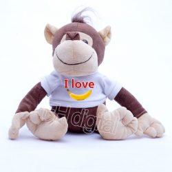 Plüss majom egyedi fehér pólóban