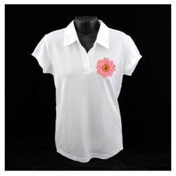 Egyedi fehér női inggalléros póló